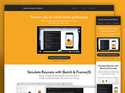 Framer Inventory 2.0 Landing Page framerjs plugin motion interaction prototype sketch framer
