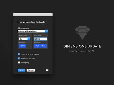 Framer Inventory Dimensions Update Settings sketch plugin menubar os x framer prototype interaction motion plugin framerjs