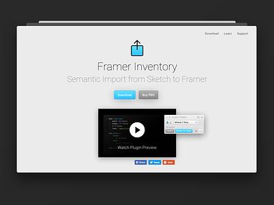Framer Inventory 3 – Landing Page prototyping landing plugin sketch framer