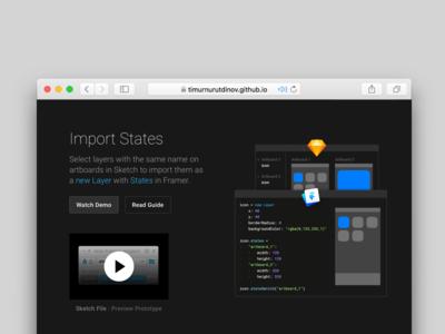 Import States for Framer Inventory 3 prototyping landing plugin sketch framer