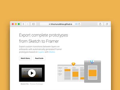 Export Prototypes for Framer Inventory 3 prototyping landing plugin sketch framer