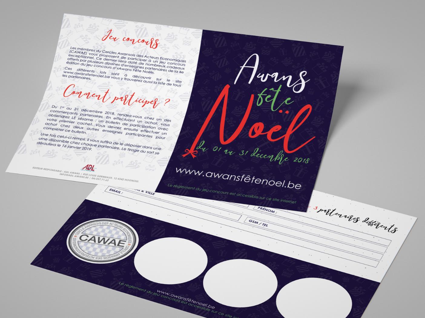A6 flyers for Awans Fête Noël 2018 client work flyer design