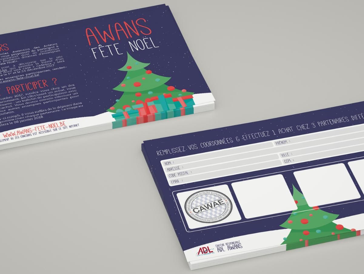 A6 flyers for Awans Fête Noël 2017 flyer design client work
