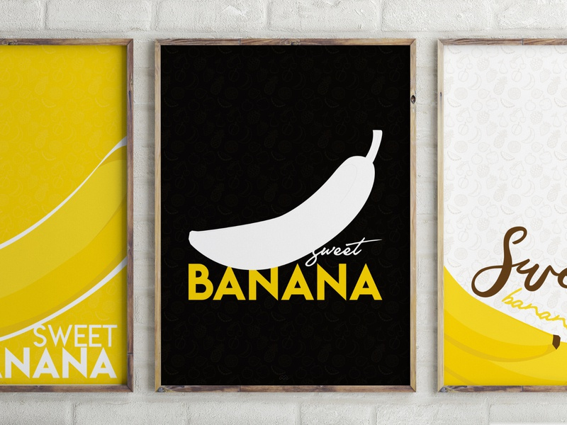 Bananas Collection print designer print design graphic design bananas fun personal work yellow colors minimal poster minimalist poster minimalist