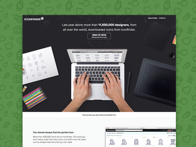 Landing page for Iconfinder Pro