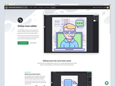 The icon editor icons iconfinder icon editor landing page