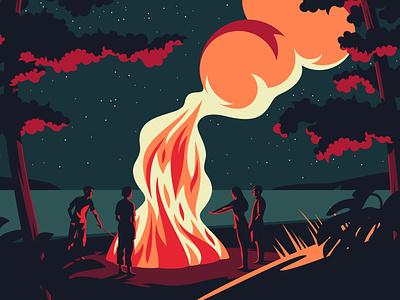 Bonfire plants hygge people friends cosy night beach bonfire minimal flat design illustration