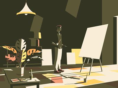 Painter paintings people minimal flat minimalism shadow light painting vector design illustration