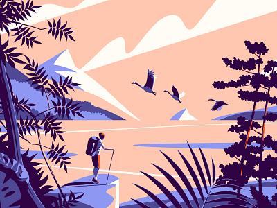 Lake at sunset flat illustration sunset minimal hike mountains vector design illustration
