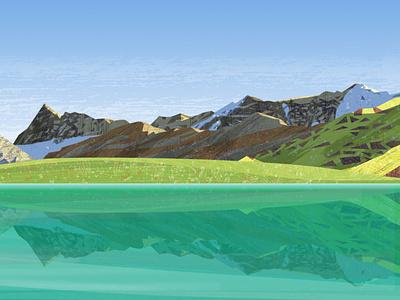 Peakvisor panoramas vector hiking hike snow mountains bicycle design illustration