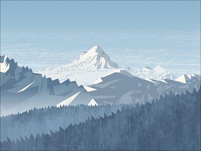 Peakvisor panorama hike bicycle meadow light hiking snow mountains vector design illustration