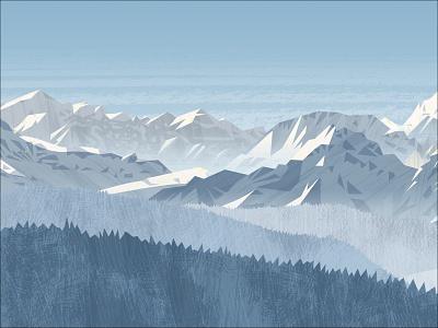Peakvisor panorama light hiking snow hike mountains vector design illustration