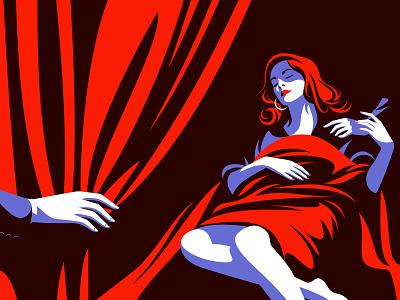 The red curtain secret love sleep woman flat illustration flat design minimal vector design illustration
