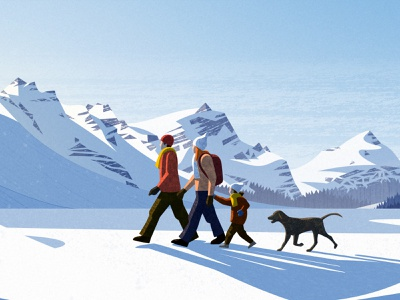 PeakVisor Winter 2021 dog hiking family light hike snow mountains vector design illustration