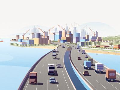 GoldFinch Finance bridge activity truck car taffic crane construction building city light vector design illustration