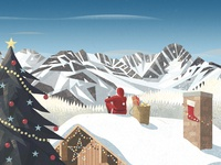 Santa Claus in the mountains