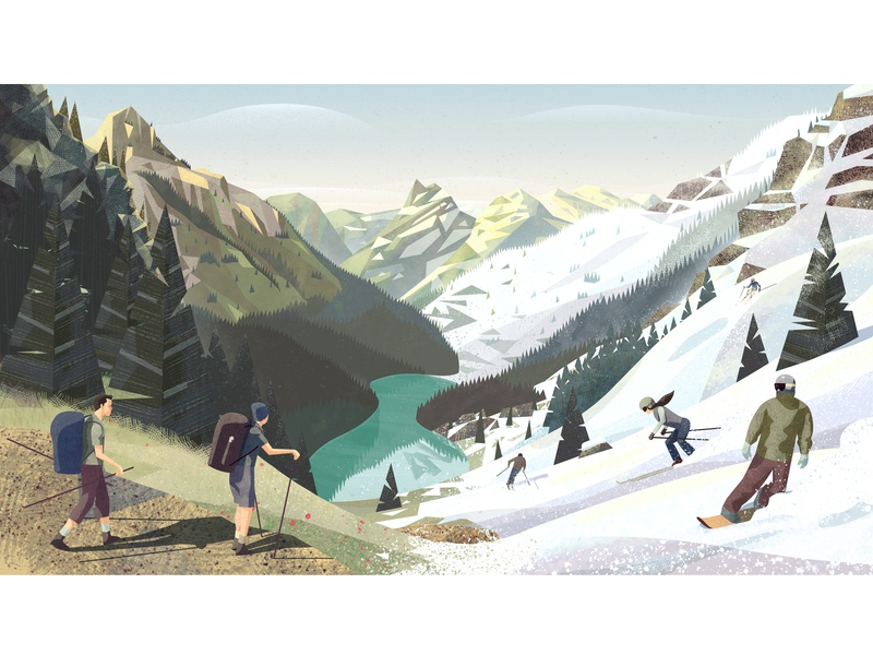 PeakVisor seasonal illustration. From summer to winter. tree lake snowboarder snowboarding snowboards snowboard hiking hike ski graphics ski resort ski seasonal vector branding design mountains snow illustration