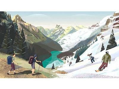PeakVisor seasonal illustration. From summer to winter. tree lake snowboarder snowboarding snowboards snowboard hiking hike ski graphics ski resort ski seasonal vector branding design mountains snow illustration