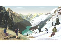 PeakVisor seasonal illustration. From summer to winter.