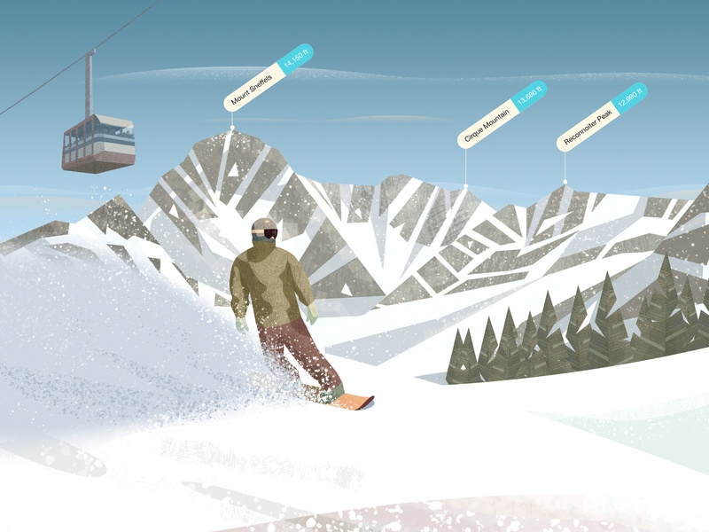 PeakVisor / App Store illustration ski lift skiing ski mountains snow vector design illustration