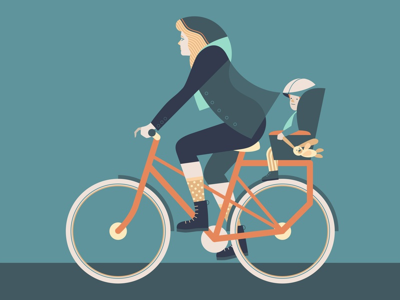 Bicycle project baby woman biker bike bicycle vector design illustration