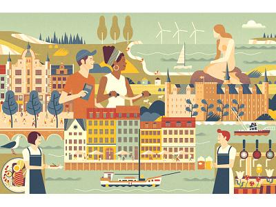 Silverkris tourism sightseeing copenhagen vector design illustration
