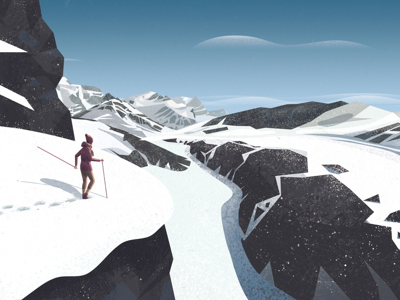 Hiking in the snow hiking hike snow mountains vector design illustration