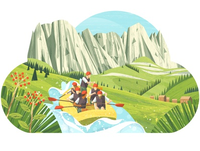 Fattura in cloud mountain grass flowers meadow people rafting raft mountains vector design illustration