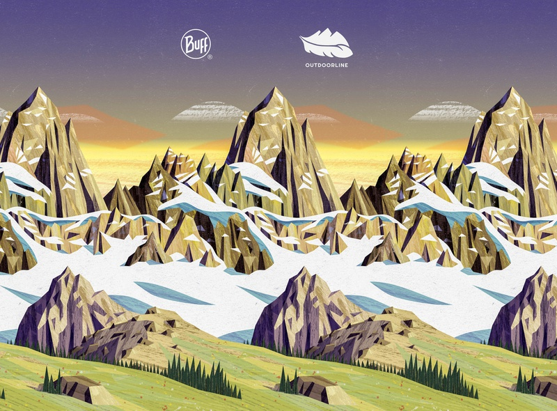 Outdoorline / Buff pattern sunset meadow hiking hike snow mountains vector design illustration