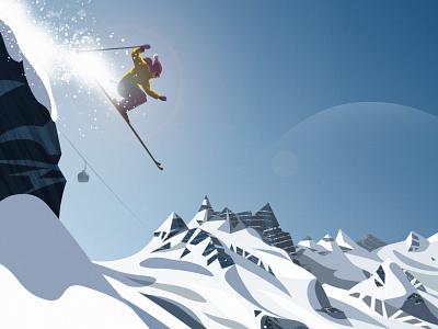 PeakVisor / AppStore winter theme lighting sun glacier peak mountain light snowboard ski snow ui vector hike hiking mountains design illustration