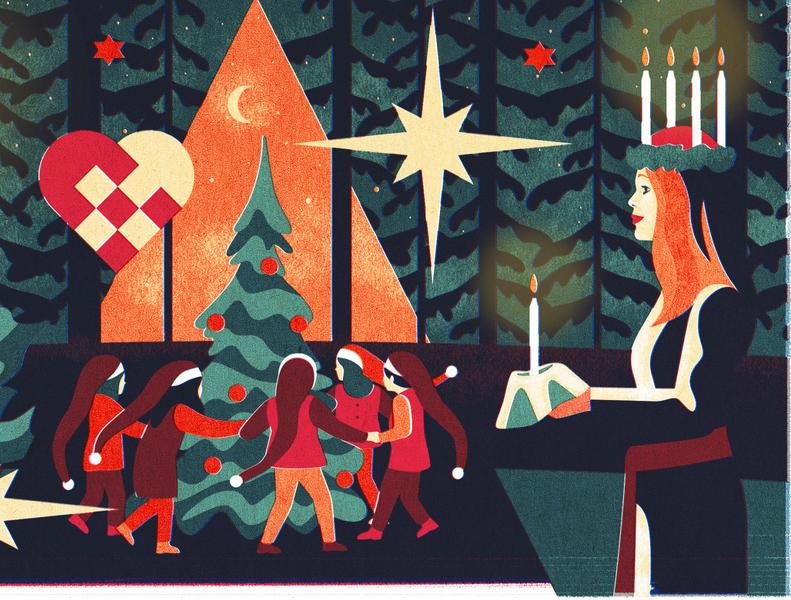 Christmas / CultureTrip candlelight night tree pinetree candle christmas tree christmas santaclaus texture print vintage tradition ui vector editorial art editorial illustration illustration design