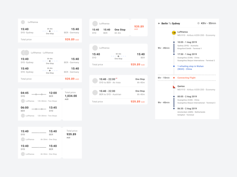 Flights Component product design mobile screen designsystem ui ux