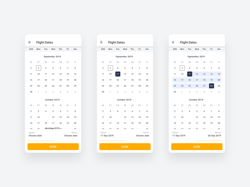 Calendar ios screen ui ux mobile product flat app