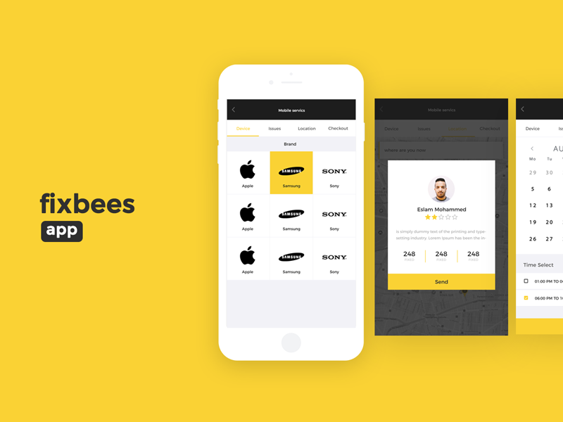 Fixbees ux ui motion iphone ios interface icons flat design mobile fix app