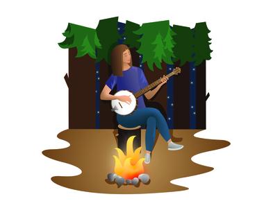 Girl and banjo