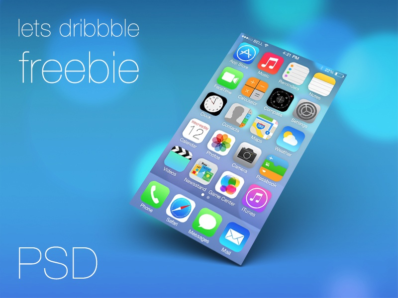 FREE PSD - iOS7 Screen Template ios7 iphone template design icons icon freebie free psd mobile ui