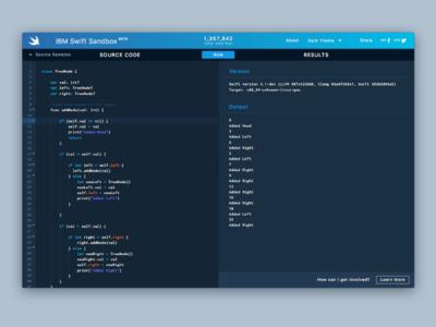 IBM Swift Sandbox sandbox linux ui theme swiftlang code code editor repl swift ibm