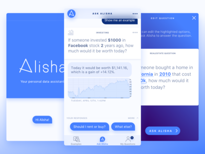 Ask Alisha: your personal data assistant mobile ios investing finance real estate conversational interface chat bot app ai