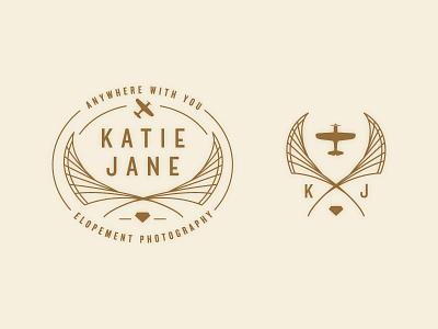 Kate Jane Logo logo braizen wings diamond gold cream simple plane enclosure elopement photography