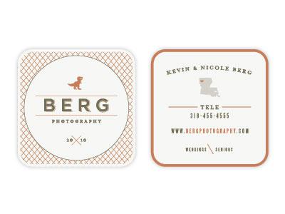 Berg Photography Business Card uppercase condensed square berg louisiana braizen dinosaur wedding seniors all caps slab serif rounded corners berg photography
