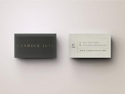 Candice Ilia gold gilded c braizen jasminelless serifs business card jasmine byers all caps san serif jasminellesse