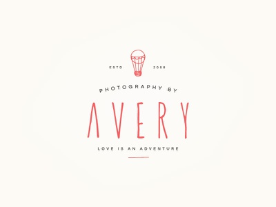 Avery Logo V2 uppercase illustration avery jasminellesse branding logo hot air balloon jasmine ellesse hand drawn photographer