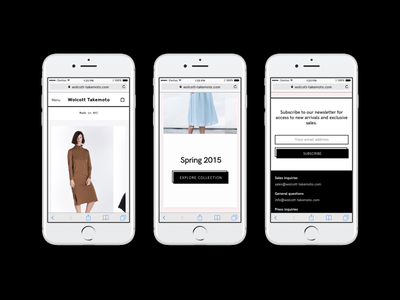Wolcott Takemoto Ecommerce Mobile black mobile responsive fashion ecommerce e commerce e-commerce shop ui ux web website