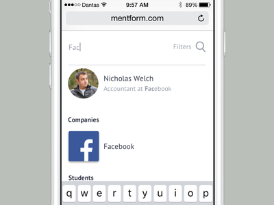 Mentform Search on Mobile