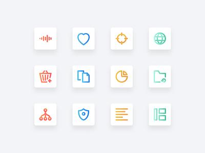 Dantas Basic Icons Preview outline iconography gradient ui design icon design icons icon