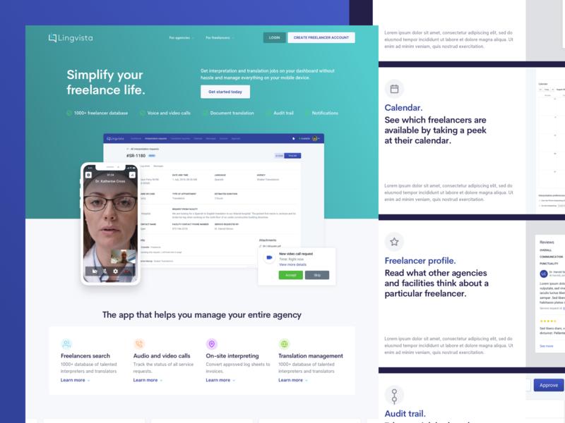 Lingvista - Freelancers Landing Page above the fold hero user experience design user interface design colors website ui ux layout marketing ux design ui design landing page