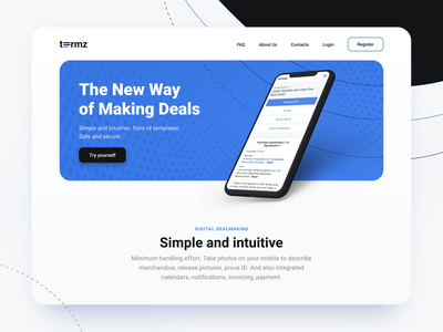 Landing page for Making Deals invoice agreement paper documents new mobile shot mockup illustraion main screen mainpage header head landing page landing web contract client deal deals