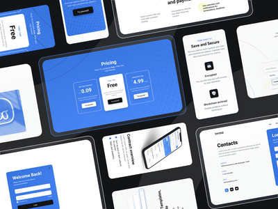 Landing Page. Document. Contract. Remotely web minimal blue contact login log in security save choose tariff plane price pricing document deals deal contract landing design landing page landing