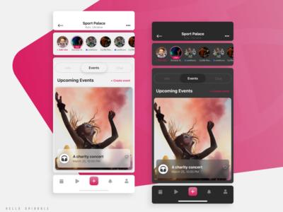 Event App (Concept) people stories ios mobile app design mobile app night mode party event event concep app design app hello dribbble debutshot debuts firstshoot hello