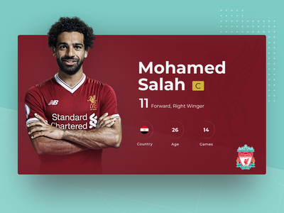 Football player presentation card game info skill interface fifa ball world cup presentation layout presentation player uiux design liverpool fc liverpool salah soccer football infographic sport